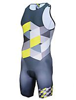 cheap -21Grams Men's Sleeveless Triathlon Tri Suit Blue+Yellow Plaid / Checkered Bike Clothing Suit UV Resistant Breathable Quick Dry Sweat-wicking Sports Plaid / Checkered Mountain Bike MTB Road Bike