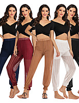 cheap -Women's Yoga Pants Solid Color Black White Red Dark Navy Coffee Cotton Dance Fitness Gym Workout Bloomers Bottoms Sport Activewear Breathable Quick Dry Soft Loose