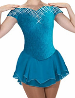 cheap -Figure Skating Dress Women's Girls' Ice Skating Dress Green Patchwork Spandex High Elasticity Training Competition Skating Wear Crystal / Rhinestone Short Sleeve Ice Skating Figure Skating