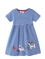 cheap -Toddler Girls' Striped Short Sleeve Above Knee Dress Blue