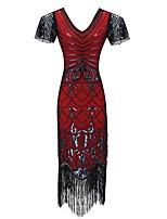 cheap -Dance Costumes 1920s / The Great Gatsby / Flapper Dress Women's Performance Terylene Tassel / Paillette Short Sleeve Dress