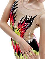 cheap -21Grams Rhythmic Gymnastics Leotards Artistic Gymnastics Leotards Women's Girls' Leotard Red Spandex High Elasticity Breathable Handmade Jeweled Diamond Look Long Sleeve Training Dance Rhythmic