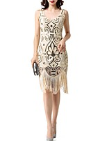 cheap -Sheath / Column Jewel Neck Knee Length Polyester Elegant Cocktail Party / Party Wear Dress 2020 with Sequin / Tassel