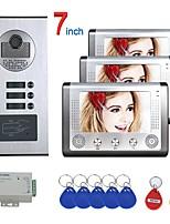 cheap -7 inch 3 Apartment/Family Video Door Phone Intercom System RFID IR-CUT HD 1000TVL Camera Doorbell Camera  Waterproof