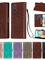 cheap -Case For Samsung Galaxy A20e/A10s/A20s Wallet / Card Holder / with Stand Full Body Cases Solid Colored / Feathers PU Leather For Galaxy A51/A71