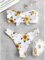 cheap -Women's Basic White Bandeau Cheeky High Waist Bikini Swimwear - Floral Geometric Lace up Print S M L White