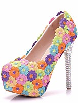 cheap -Women's Heels Stiletto Heel Round Toe Lace Spring & Summer Rainbow