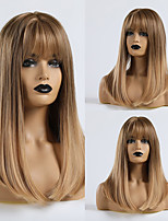 cheap -Synthetic Wig Straight Matte Lily Neat Bang Wig Medium Length Light golden Synthetic Hair 20 inch Women's Party Ombre Hair Blonde