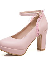 cheap -Women's Heels Chunky Heel Round Toe Stitching Lace PU Casual / Sweet Spring & Summer White / Pink / Beige