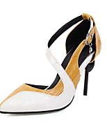 cheap -Women's Heels Stiletto Heel Pointed Toe Rhinestone / Buckle PU / Synthetics Spring & Summer Black / Yellow / Party & Evening / Color Block