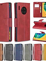 cheap -Case For Huawei Huawei P30 / Huawei 30 Pro / Huawei P30 lite Wallet / Card Holder / with Stand Full Body Cases Solid Colored PU Leather / TPU for Mate 30 Lite / Mate 30 Pro / Honor 10 Lite