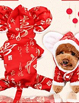 cheap -Dog Cat Jumpsuit Winter Dog Clothes Red Costume Husky Labrador Golden Retriever Flannel Fabric Geometric Christmas Reindeer Casual / Daily Simple Style XS S M L XL XXL
