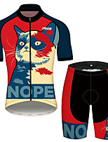 cheap -21Grams Women's Short Sleeve Cycling Jersey with Shorts Black / Red Cat Animal Bike Clothing Suit Breathable 3D Pad Quick Dry Ultraviolet Resistant Reflective Strips Sports Cat Mountain Bike MTB Road