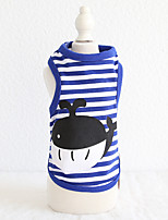 cheap -Dog Costume Vest Dog Clothes Breathable Blue Costume Beagle Bichon Frise Chihuahua Cotton Stripes Animal Cartoon Casual / Sporty Animal XS S M L XL
