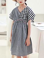 cheap -Kids Girls' Basic Street chic Check Short Sleeve Knee-length Dress Black