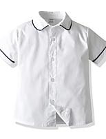 cheap -Kids Boys' Basic Blue & White Solid Colored Short Sleeve Shirt White
