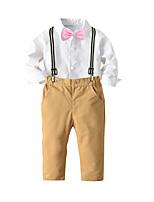 cheap -Kids Boys' Basic Christmas Home Solid Colored Cartoon Print Long Sleeve Regular Regular Clothing Set White