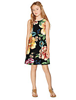 cheap -Kids Girls' Active Sweet Floral Print Sleeveless Knee-length Dress Black