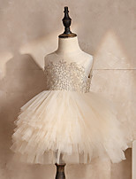 abordables -Princesse Robe Fille Cosplay de Film Cosplay Halloween Beige Robe Halloween Carnaval Mascarade Tulle Polyester