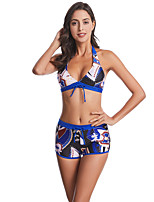 cheap -Women's Basic Royal Blue Bandeau Cheeky High Waist Bikini Swimwear - Floral Geometric Lace up Print S M L Royal Blue