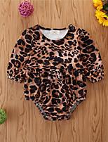 cheap -Baby Girls' Basic Leopard Long Sleeve Bodysuit Khaki