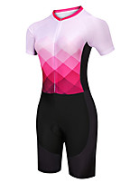 cheap -21Grams Women's Short Sleeve Triathlon Tri Suit Pink / Black Argyle Bike Clothing Suit UV Resistant Breathable Quick Dry Sweat-wicking Sports Argyle Mountain Bike MTB Road Bike Cycling Clothing