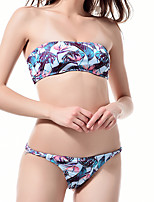 cheap -Women's Basic Black White Purple Bandeau Cheeky Bikini Tankini Swimwear - Floral Geometric Check Backless Print S M L Black