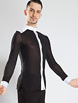cheap -Latin Dance Tops Men's Performance Mesh Ruching Long Sleeve Top
