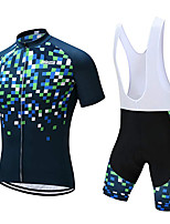 cheap -21Grams Men's Short Sleeve Cycling Jersey with Bib Shorts Polyester Bule / Black Plaid / Checkered Geometic Bike Clothing Suit UV Resistant Breathable 3D Pad Quick Dry Sweat-wicking Sports Plaid