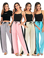 cheap -Women's Yoga Pants Wide Leg Drawstring Stripes Apricot Pink Gray Light Blue Cotton Dance Fitness Gym Workout Bottoms Sport Activewear Breathable Quick Dry Soft Loose