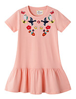 cheap -Toddler Girls' Geometric Short Sleeve Above Knee Dress Blushing Pink