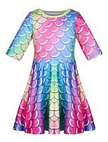 cheap -Kids Toddler Girls' Basic Cute The Little Mermaid Color Block Print Long Sleeve Knee-length Dress Rainbow