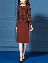 abordables -Gatsby Rétro Vintage Années 50 Elégant Robe Manteau Tenue Femme Costume Rouge Bordeaux Vintage Cosplay Travail Bureau et carrière Manches Longues