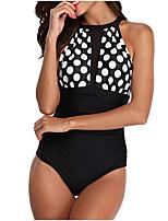 cheap -Women's Black White Green Bikini Swimwear - Geometric S M L Black