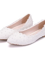 cheap -Women's Wedding Shoes Flat Heel Pointed Toe PU Spring & Summer White / Pink