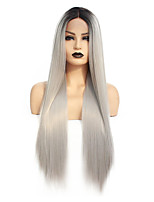 cheap -Synthetic Lace Front Wig Straight Gaga Middle Part Lace Front Wig Long Ombre Grey Synthetic Hair 22-26 inch Women's Heat Resistant Women Hot Sale Gray Ombre / Glueless