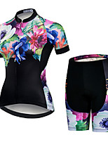cheap -21Grams Women's Short Sleeve Cycling Jersey with Shorts Pink / Black Floral Botanical Bike Clothing Suit Breathable Quick Dry Ultraviolet Resistant Sweat-wicking Sports Floral Botanical Mountain Bike