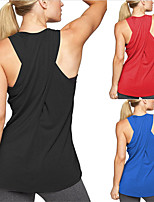 cheap -Women's Yoga Top Cross Back Solid Color Black Red Blue Cotton Yoga Running Fitness Tank Top Sleeveless Sport Activewear Breathable Moisture Wicking Quick Dry Micro-elastic Slim