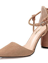 cheap -Women's Heels Chunky Heel Pointed Toe Synthetics Sweet / British Fall / Spring & Summer Black / Almond / Pink