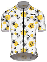 cheap -21Grams Men's Women's Short Sleeve Cycling Jersey 100% Polyester White Floral Botanical Bike Jersey Top Mountain Bike MTB Road Bike Cycling Quick Dry Sports Clothing Apparel / Race Fit
