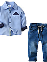 cheap -Kids Toddler Boys' Basic Street chic Birthday Party Party & Evening Solid Colored Long Sleeve Regular Regular Clothing Set Blue