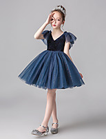 cheap -Princess Dress Girls' Movie Cosplay Cosplay Halloween Ink Blue / Red Dress Halloween Carnival Masquerade Tulle Polyester