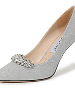 cheap -Women's Wedding Shoes Stiletto Heel Pointed Toe Rhinestone Synthetics Sweet / Minimalism Fall / Spring & Summer Silver / Party & Evening