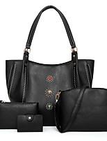 cheap -Women's Zipper PU Bag Set Solid Color 4 Pieces Purse Set Black / Brown / Blushing Pink