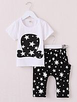 cheap -Baby Girls' Active / Basic Print Print Short Sleeve Regular Regular Clothing Set White