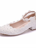 cheap -Women's Wedding Shoes Chunky Heel Pointed Toe PU Spring & Summer White / Pink