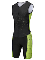 cheap -21Grams Women's Sleeveless Triathlon Tri Suit Black / Green Bike Clothing Suit UV Resistant Breathable Quick Dry Sweat-wicking Sports Lines / Waves Mountain Bike MTB Road Bike Cycling Clothing Apparel