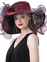 cheap -Headwear Lace / Organza / Poly / Cotton Blend Hats with Jacquard / Cascading Ruffles 1 Piece Wedding / Outdoor / Horse Race Headpiece