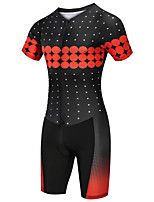 cheap -21Grams Women's Short Sleeve Triathlon Tri Suit Black / Red Polka Dot Bike Clothing Suit UV Resistant Breathable Quick Dry Sweat-wicking Sports Polka Dot Mountain Bike MTB Road Bike Cycling Clothing