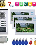 cheap -7inch Record Video Intercom 3 Apartments Video Door Phone Intercom System with  RFID HD1080P Doorbell Waterproof Camera